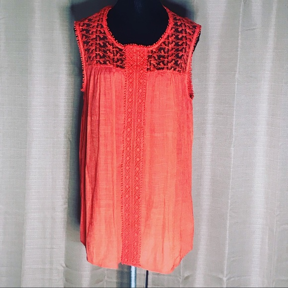 new directions Tops - NEW DIRECTIONS CURVY LACE BOHEMIAN TANK L #596